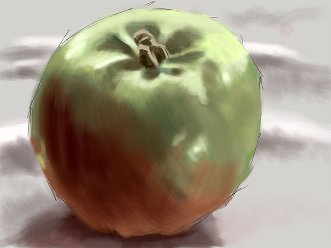 Painting of an apple