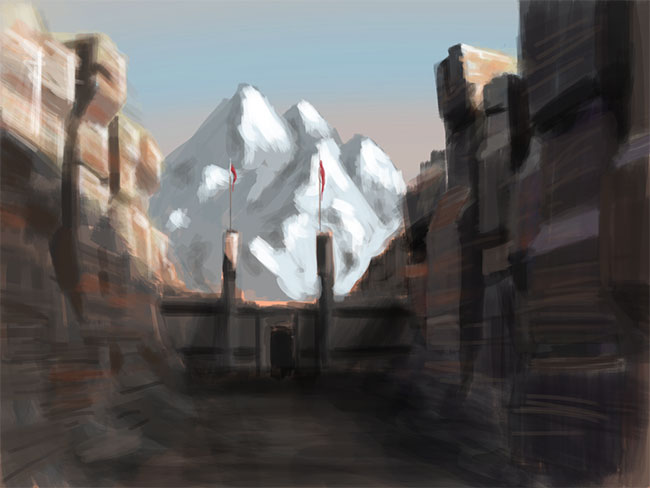 Painting of a stone gate across a moutain pass