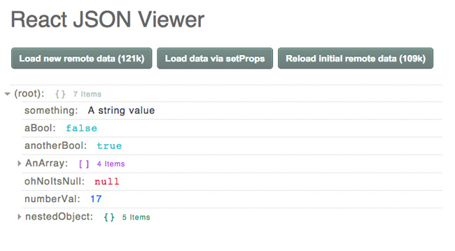 React JSON viewer screenshot