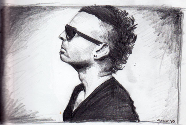 Drawing of a guy with sungleasses and a mowhawk
