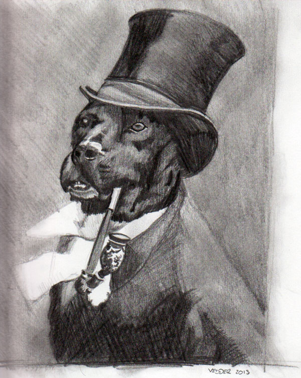 Drawing of a dog in a top hat and coat