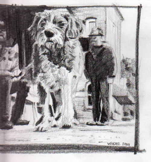 Drawing of a dog at a festival
