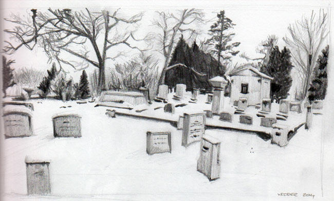 Drawing of Mt. Hope Cemetray in winter